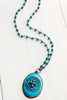 Jasper Pendant on Turquoise and Sterling Gunmetal Rosary Chain with Scripture