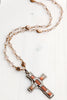 "Vintage Reversible Designer ""Miracle"" Cross from Ireland on Faceted Antique Czech Glass Beaded Necklace"