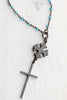 Blue Crystal Sterling Silver Crosses on Blue Crystal Rosary Chain Necklace