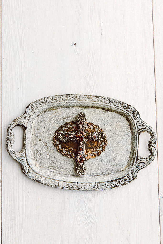 Small Decorative Tray with Gold Antique Cross Embellishment