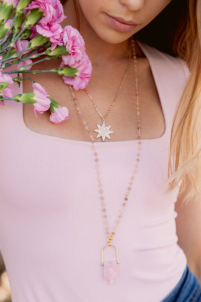Rose Quartz Pendant Necklace on Delicate Rosary Beads