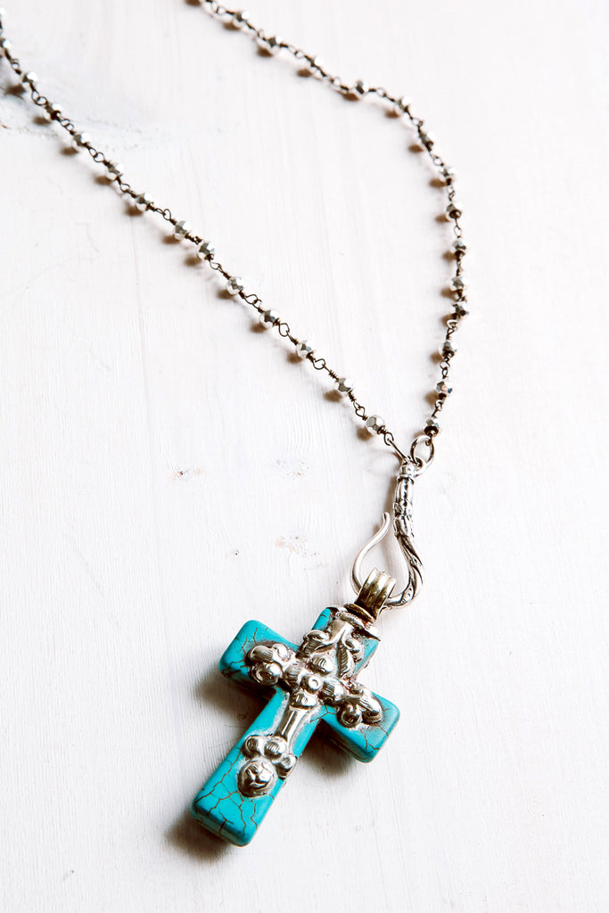 Turquoise and Silver Vintage Tibetan Cross on Pyrite Sterling Silver Delicate Rosary Chain