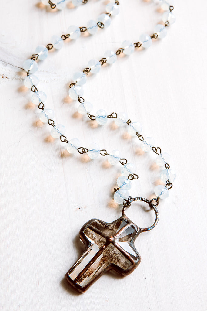 Hand-Soldered Crystal Cross Pendant with Opalite Rosary Chain