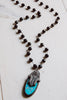 Hand Soldered Turquoise and Crystal Pavé Fancy Hamsa Pendant Black Rosary Bead Necklace