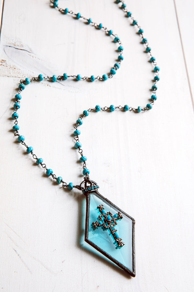 Hand-Soldered Blue Glass Diamond Pendant Necklace with Rosary Bead Chain