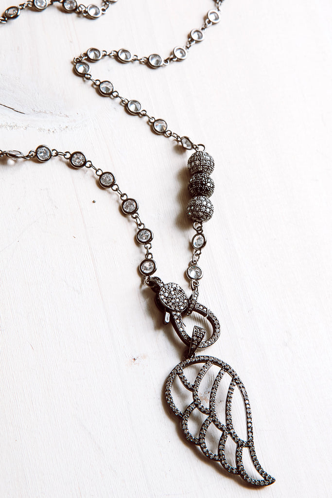Pavé Angel Wing Pendant Necklace with Crystal Chain