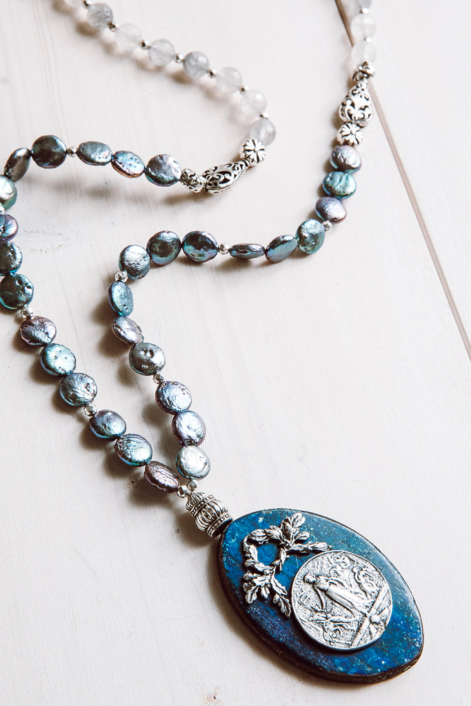 Blue Agate Pendant Necklace with Coin Pearl and Quartz Beads