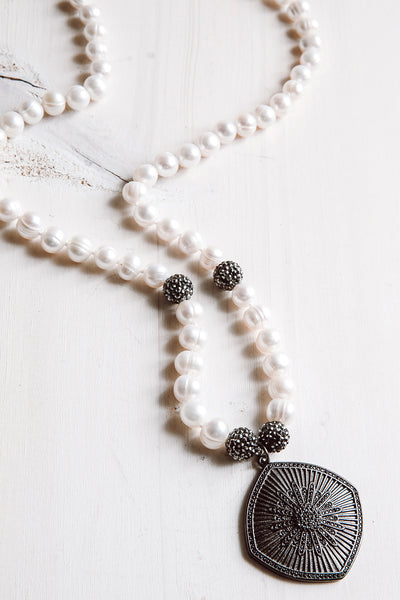 Black Pavé Starburst Pendant Necklace with White Freshwater Pearls