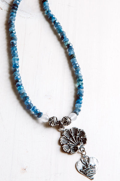 Heart & Crown Charm Necklace with Faceted Rare Blue Kyanite Gemstone Beads