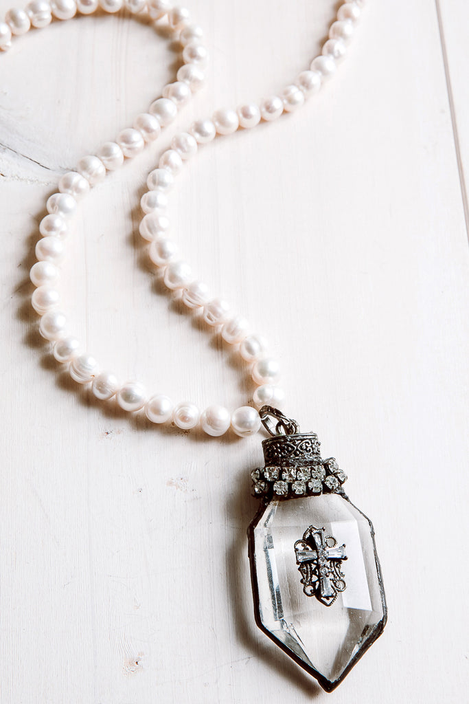 Hand-Soldered Crystal Cross Pendant Necklace with Cross Embellishment on White Freshwater Pearls