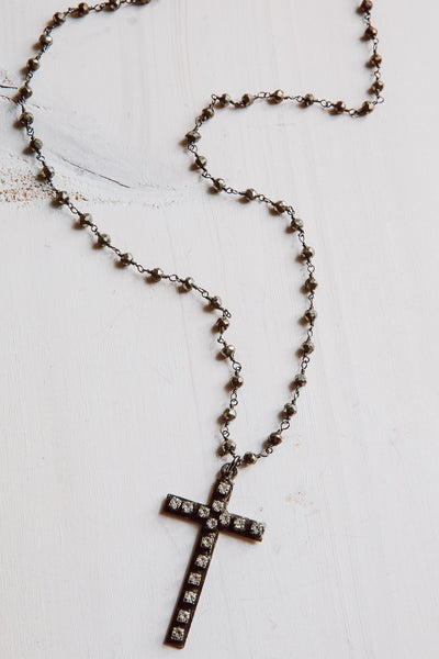 Rhinestone Cross Pendant Necklace with Hematite Sterling Silver Rosary Chain