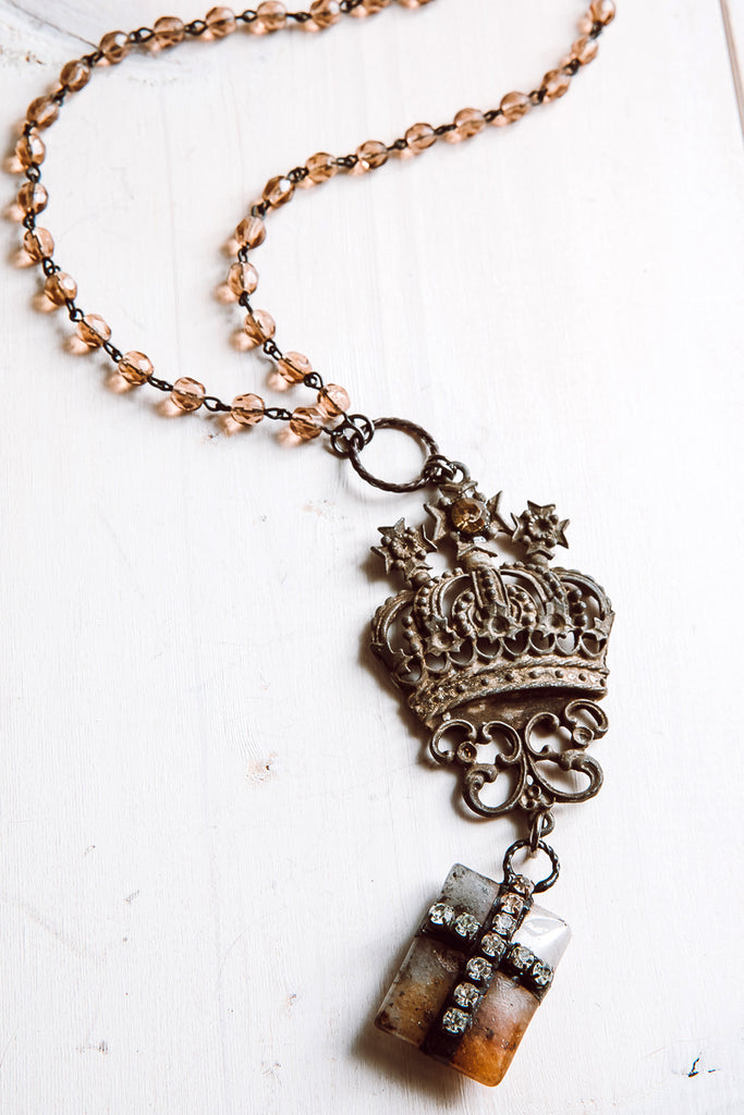Antique Gold Crown and Cross Pendant Necklace on Orange Rosary Beads