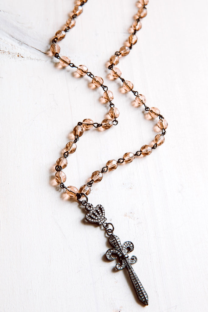 Pavé Fleur-de-Lis Sword Pendant Necklace with Amber Rosary Beads