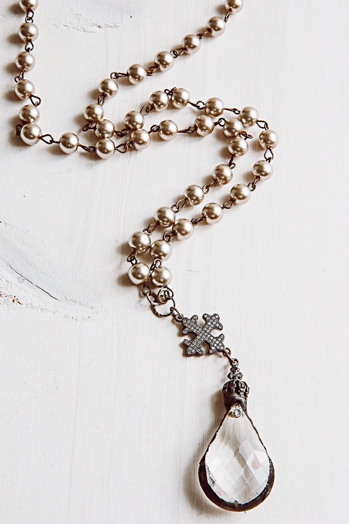 Faceted Crystal Pendant Necklace with Pavé Cross and Taupe Pearl Rosary Beads