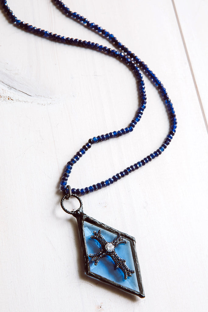 Hand-Soldered Blue Glass Diamond Pendant Necklace with Blue Jade Beads