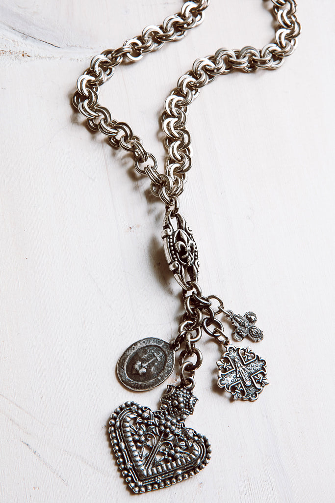 Antique Silver Over Bronze Heart, Cross and Crown Charm Necklace with Metal Chain