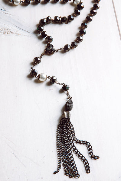 Dark Iridescent Rosary Bead Necklace with Pearls and Brass Tassel