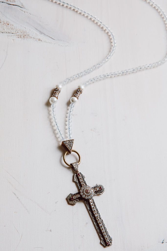 Sterling Silver Turkish White Topaz Cross Pendant on Crystal Necklace