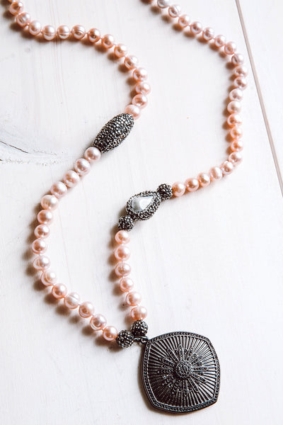 Black Pavé Starburst Pendant Necklace with Pink Freshwater Pearls