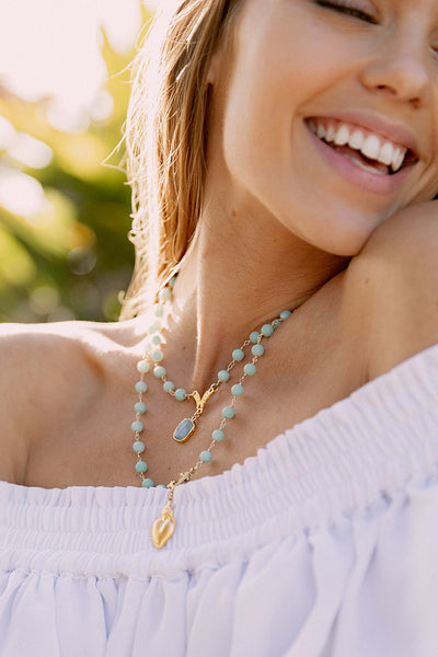 Double Layer Matte Amazonite Necklace with Gold Charms