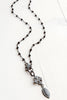 Black Rosary Chain Necklace with Pavé Clasp and Maltese Cross Drop