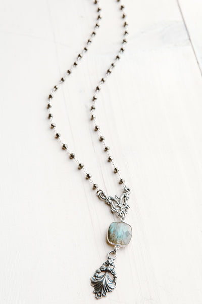 Faceted Labradorite and Vintage Filigree Pendant on Hematite Sterling Silver Rosary Chain