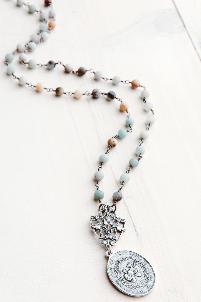 Sacred Heart Coin Pendant on Matte Amazonite Rosary Bead Necklace
