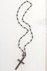 Black Rosary Bead Necklace with Pavé Clasp and Cross Pendant