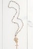 22 kt Gold Clad Silver Filigree & Cross Pendant on Labradorite Rosary Bead Necklace