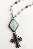 Black Pavé Cross Pendant on Amazonite Rosary Bead Necklace