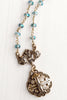 Bronze Maltese Cross Pendant on Iridescent Blue Crystal Rosary Chain Necklace