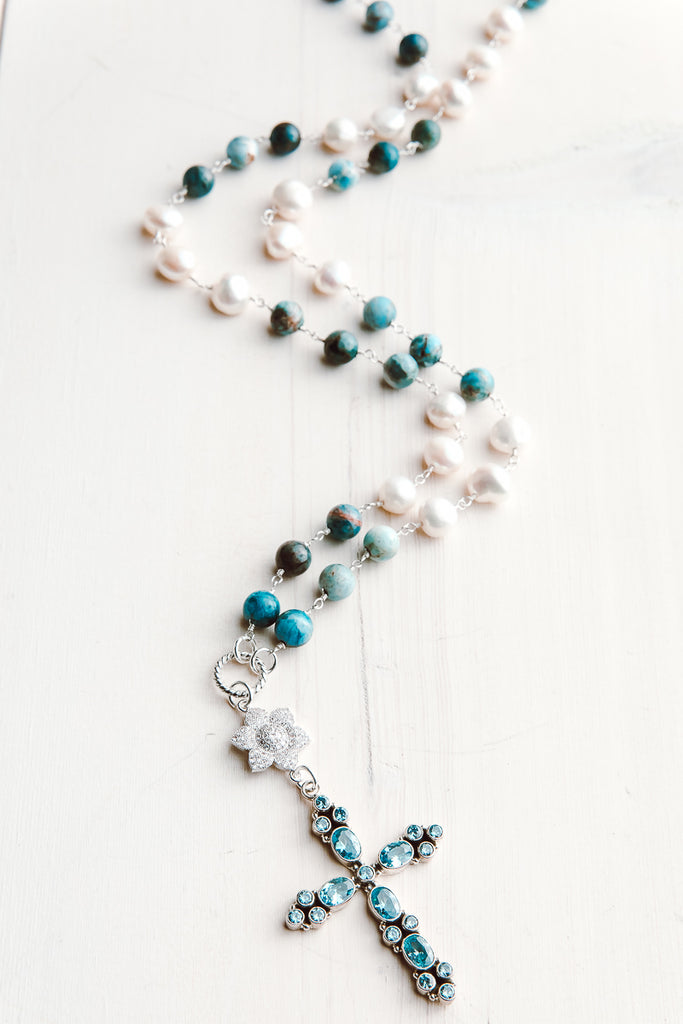 Blue Topaz Sterling Silver Cross Pendant on Amazonite and Pearl Sterling Rosary Chain Necklace