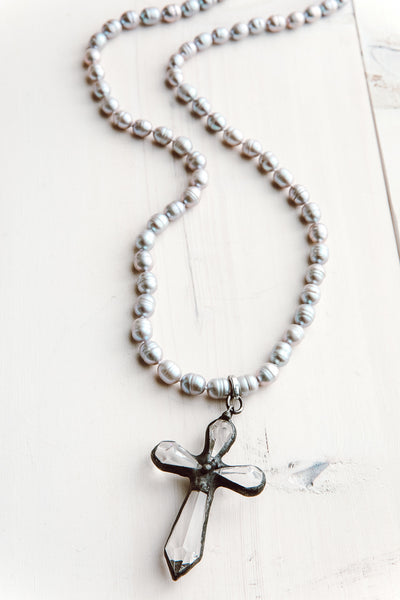 Large Faceted Crystal Cross Pendant on Silver Freshwater Pearls Necklace