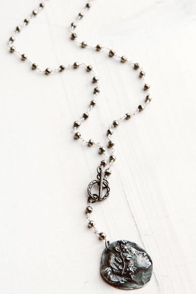 Bronze Coin Pendant & Pyrite Rosary Chain Y Necklace