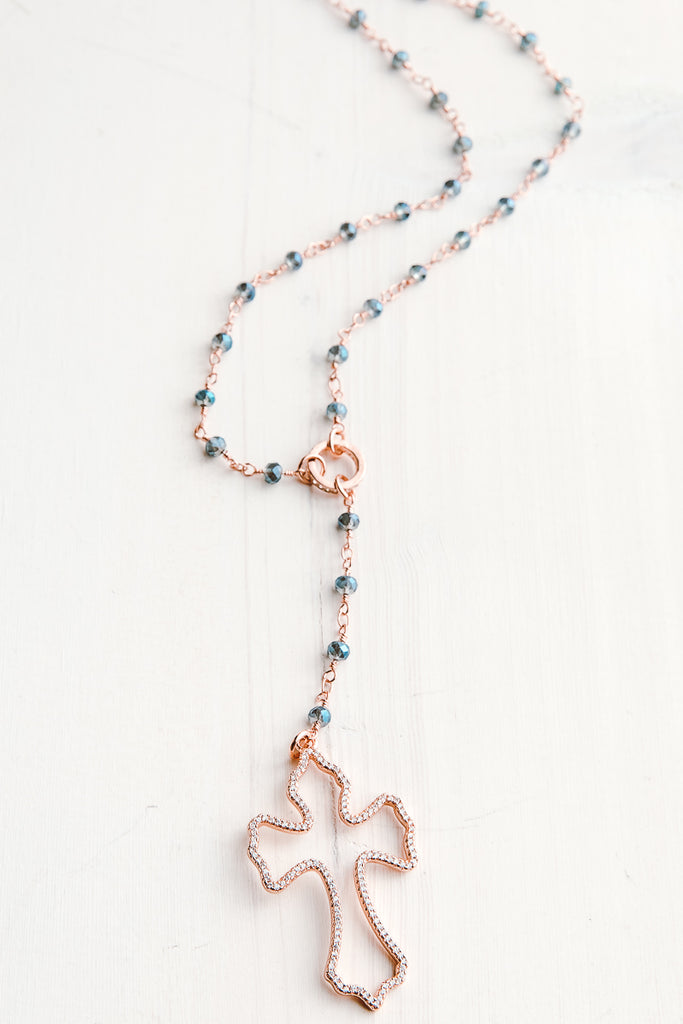Rose Gold Pavé Cross Pendant on Iridescent Blue Crystal Rosary Bead Y Necklace