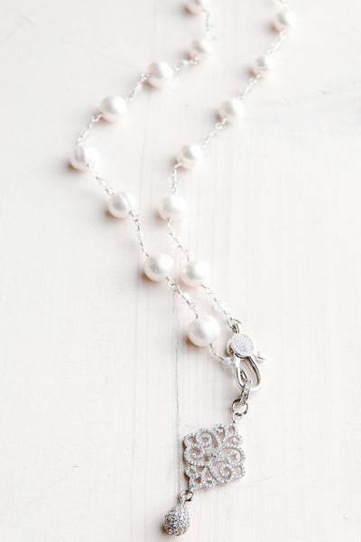 White Freshwater Pearl Sterling Silver and Micro Pavé Filigree Drop Necklace