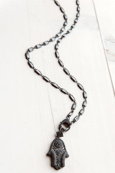 Crystal and Gunmetal Chain Necklace with Pavé Hamsa Pendant