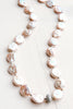 Cultured Pink Freshwater Coin Pearl Necklace with Silver Pavé Details