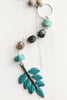 Verdigris Blue Green Leaf Pendant with Crystals on Faceted Amazonite Sterling Silver Chain Drop Necklace
