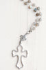 Crystal Pavé Sterling Silver Cross and Fleur de Lis on Labradorite Stone Sterling Silver Necklace