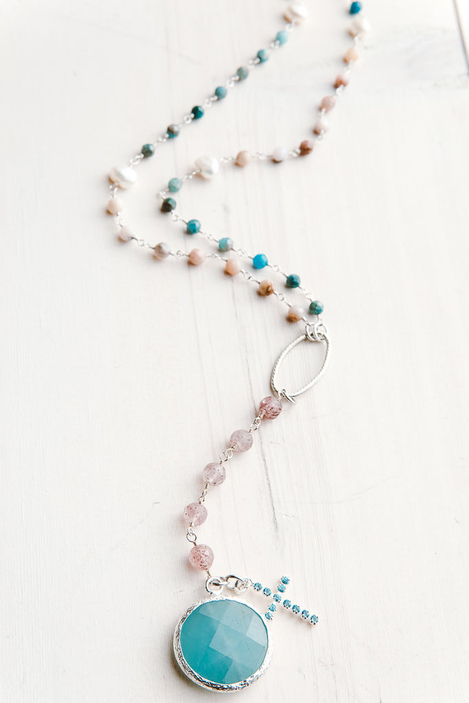 Faceted Amazonite Stone & Cross Pendant on Amazonite, Pearl & Morganite Necklace