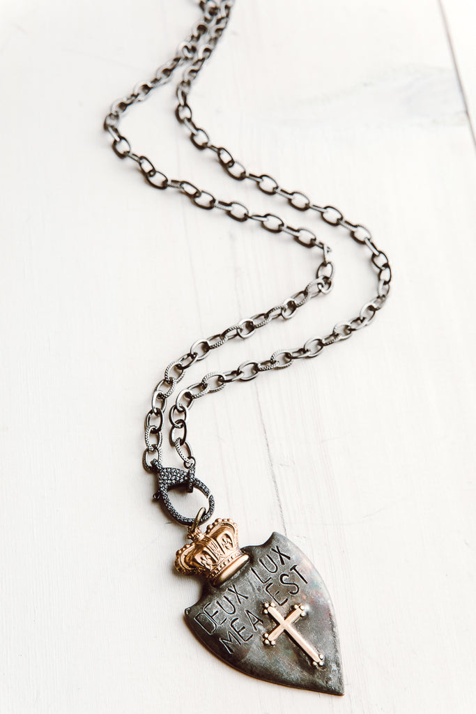 Hand Soldered Two Tone Armorial Shield Pendant on Gunmetal Chain Necklace