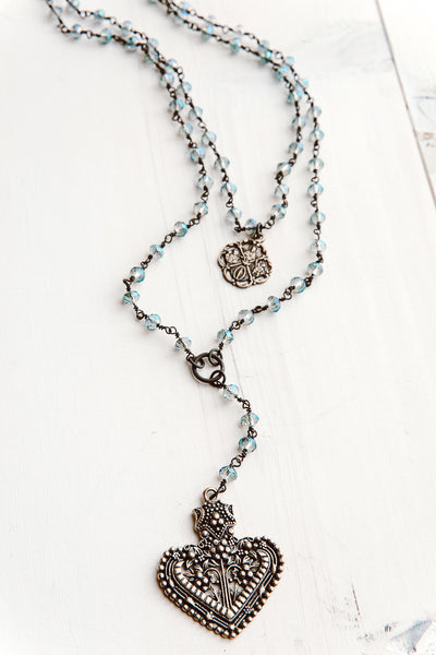 Double Layer Ornate Bronze Heart Pendant Necklace with Iridescent Blue Crystal Beads