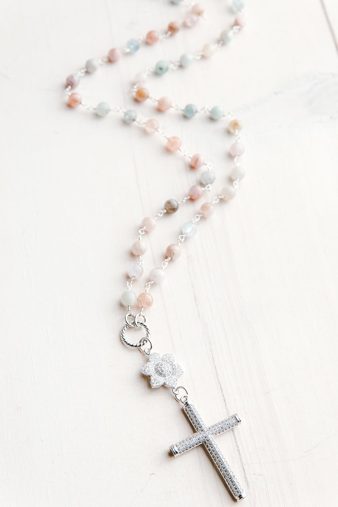 Silver Pavé Cross & Flower Pendant on Aquamarine and Morganite Gemstone Necklace
