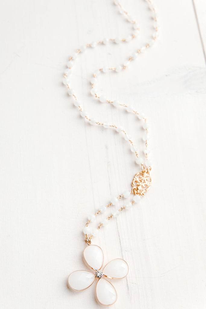 White Crystal Flower Pendant on Moonstone Rosary Bead Drop Necklace