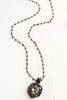 Vintage Patina Crystal Pendant & Pyrite Rosary Chain Necklace