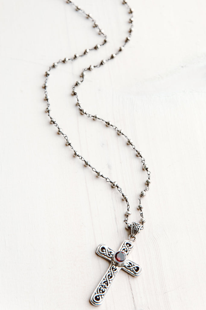 Silver Cross with Garnet Center on Delicate Faceted Silver Rosary Chain
