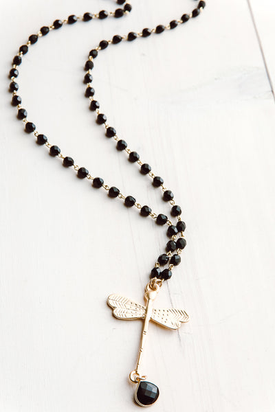 Matte Gold Dragonfly Pendant on Faceted Black Agate Necklace