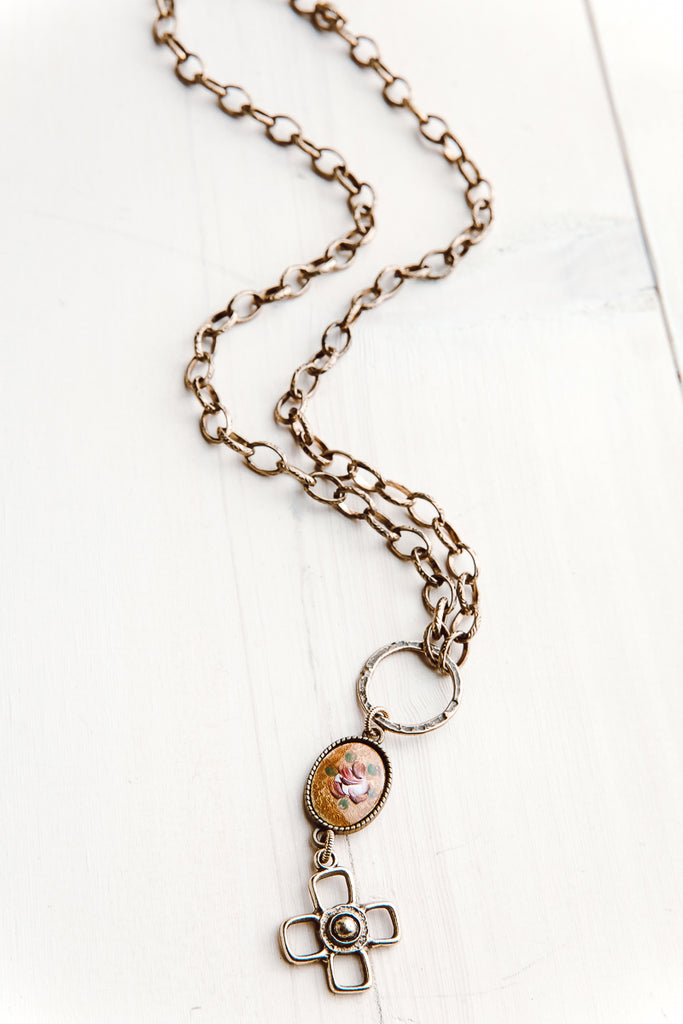 Pure Bronze Chain and Cross on Vintage Floral Drop