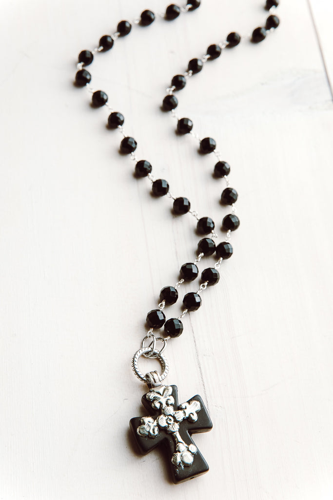 Onyx Rosary Chain Necklace with Black Howlite Tibetan Cross Pendant